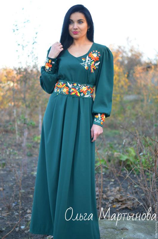 Платья ручной работы. Ярмарка Мастеров - ручная работа. Купить Одежда вышитая лентами. Handmade. Зеленый, нарядное платье, шифон
