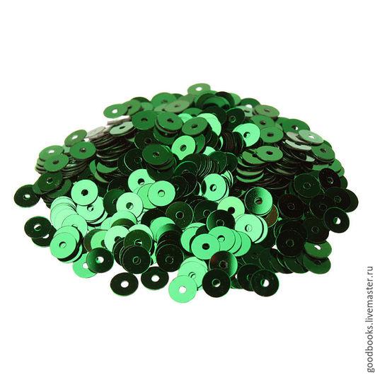 Вышивка ручной работы. Ярмарка Мастеров - ручная работа. Купить Пайетки 4мм плоские Verde Smeraldo #7041 Италия. Handmade.