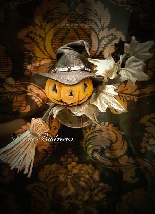 """Броши ручной работы. Ярмарка Мастеров - ручная работа. Купить Брошь из кожи """"Halloween"""". Handmade. Разноцветный, кожаная брошь, сувенир"""