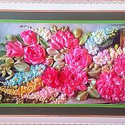 Картины ручной работы. Ярмарка Мастеров - ручная работа Картины:Картина вышивка лентами Английские розы с глицинией. Handmade.