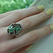Украшения handmade. Livemaster - original item MANUSO-a picturesque silver ring with emeralds and rauchtopazes. Handmade.