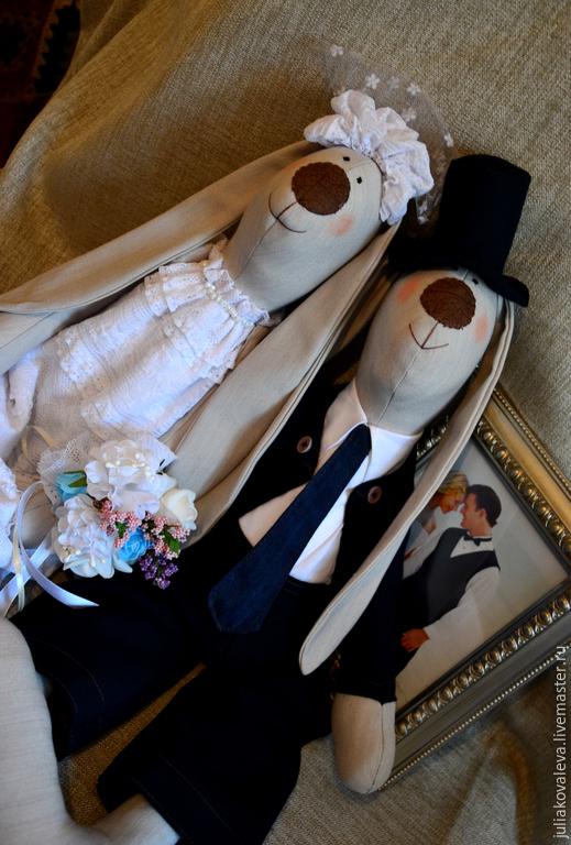 Куклы Тильды ручной работы. Ярмарка Мастеров - ручная работа. Купить Большие свадебные зайцы. Handmade. Белый, подарок на свадьбу