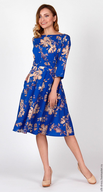 Платье с цветочным принтом  цвета аквамарин. Платье хлопок, Платья, Москва,  Фото №1