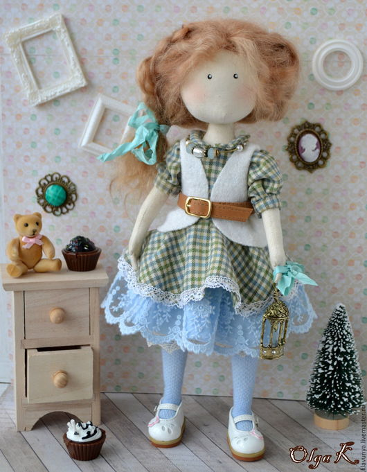 Коллекционные куклы ручной работы. Ярмарка Мастеров - ручная работа. Купить Авторская текстильная кукла. Handmade. Голубой, хлопок