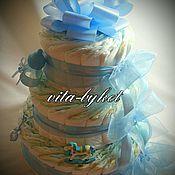 Подарки к праздникам ручной работы. Ярмарка Мастеров - ручная работа Торт из подгузников для мальчика, торт из памперсов, новорожденному. Handmade.