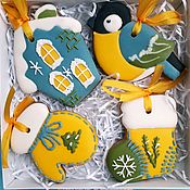 Сувениры и подарки handmade. Livemaster - original item Christmas gingerbread. Set the gingerbread on a Christmas tree Titmouse. Handmade.