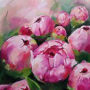 Картины и панно handmade. Livemaster - original item Oil painting Peonies (pink green flowers). Handmade.