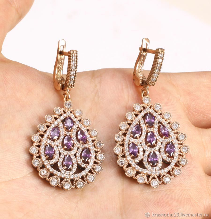 Earrings made of 925 sterling SILVER and coated with rhodium and 24 carat gold plated, decorated with purple amethyst framed with zircons