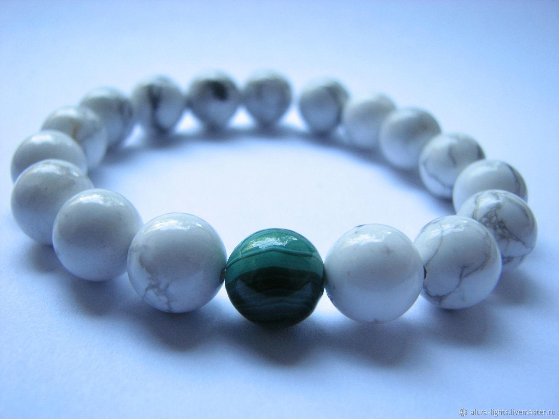 Bracelet white opal and malachite 'Green on white', Bead bracelet, Moscow,  Фото №1