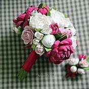Свадебный салон ручной работы. Ярмарка Мастеров - ручная работа Букет невесты пионовый. Handmade.