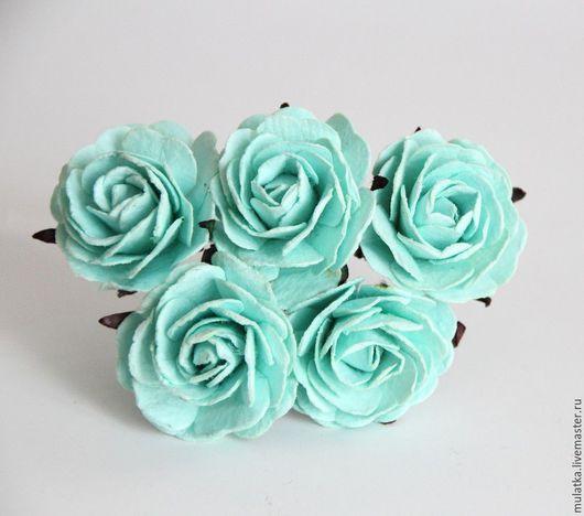 Открытки и скрапбукинг ручной работы. Ярмарка Мастеров - ручная работа. Купить 1147 Maxi розы 4 см - мятные. Handmade.