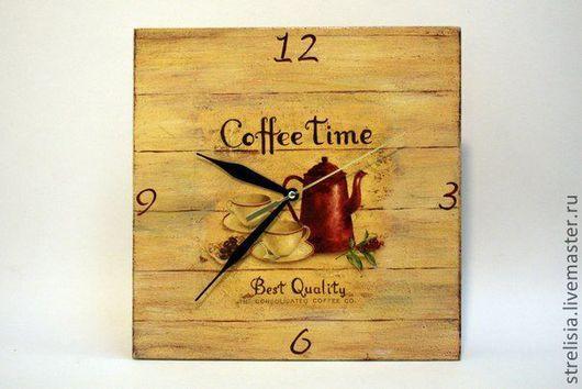 """Часы для дома ручной работы. Ярмарка Мастеров - ручная работа. Купить """"Время пить кофе"""". Handmade. Авторские часы"""