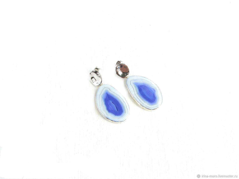 Earrings 'lilac' white earrings, earrings with a white stone, large, Earrings, Moscow,  Фото №1