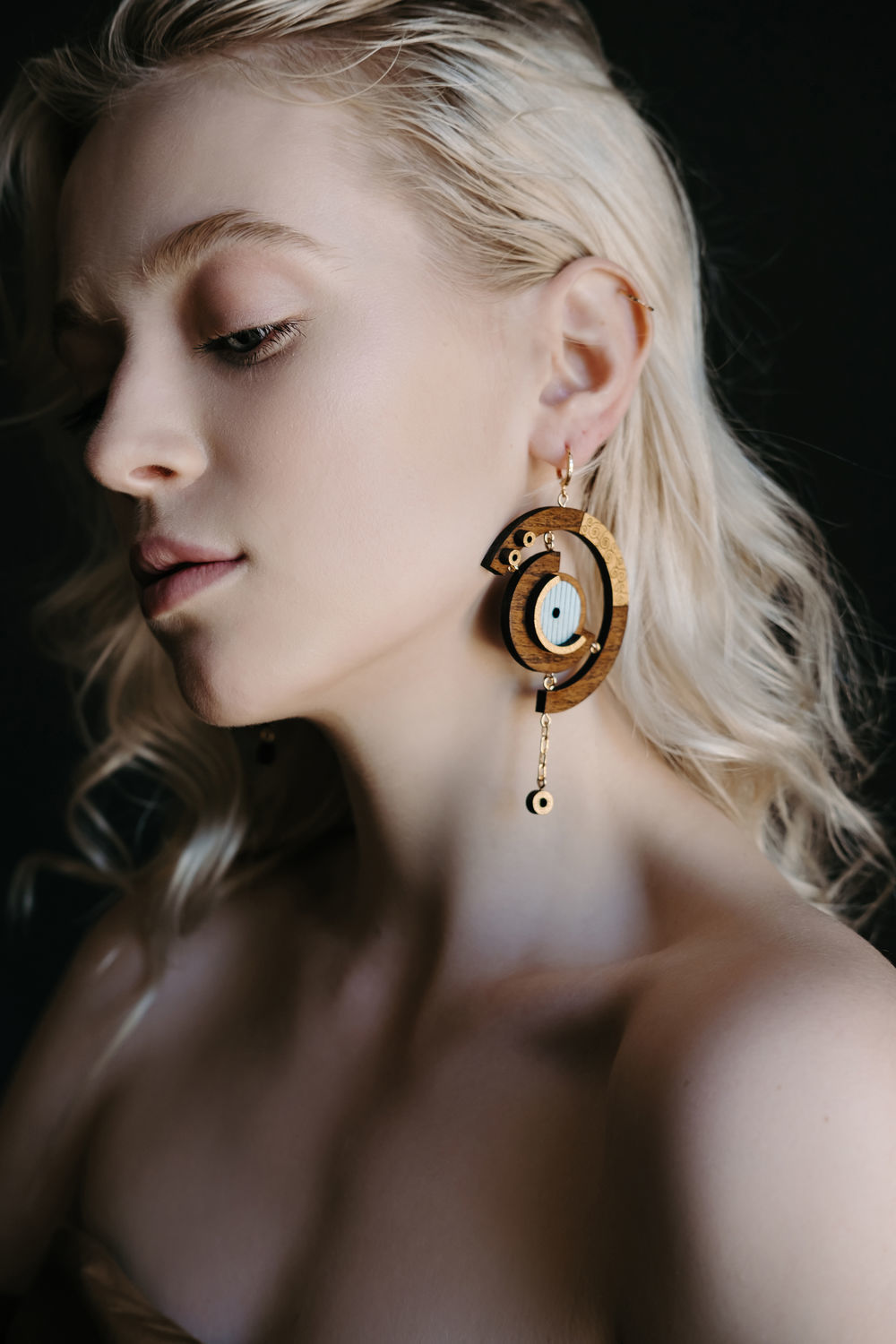 Asymmetric earrings made of wood with gold plating, Single earring, Smolensk,  Фото №1