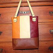 "Сумки и аксессуары handmade. Livemaster - original item Leather colourful tote  bag ""Brown and yellow squares"". Handmade."