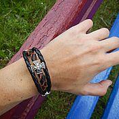 Украшения handmade. Livemaster - original item Leather bracelet with studs on the magnet Crosses. Handmade.