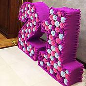 Дизайн и реклама ручной работы. Ярмарка Мастеров - ручная работа Большие объёмные цифры из цветочков. Handmade.