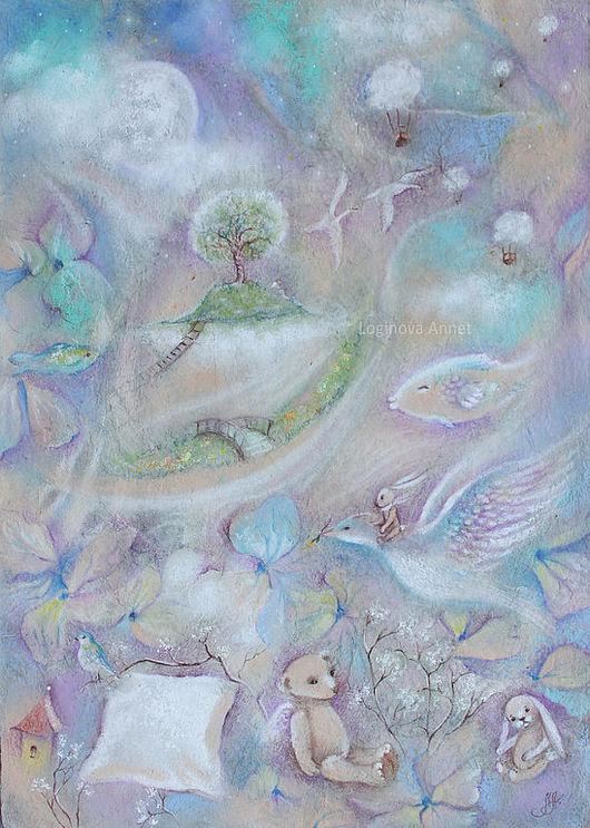 Фэнтези ручной работы. Ярмарка Мастеров - ручная работа. Купить Сон юного ангела. Handmade. Ангел, луна, воздушные шары