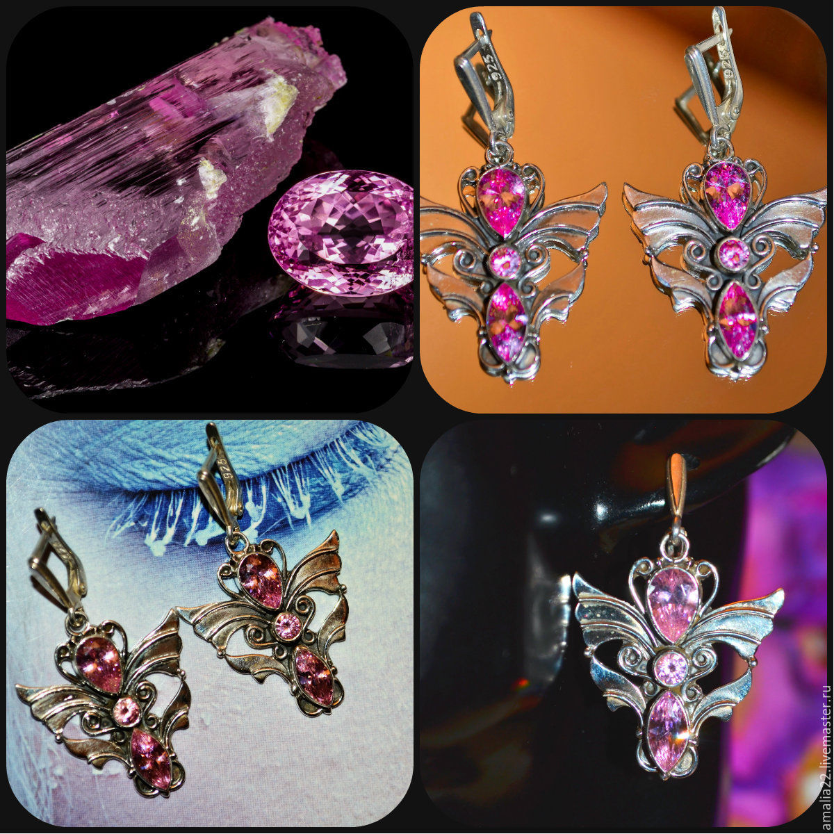Earrings 'Wings Of The Archangels' Kunzite 925 Sterling Silver, Earrings, Moscow,  Фото №1