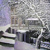 """Картины и панно ручной работы. Ярмарка Мастеров - ручная работа картина """"Одесский дворик. Зима"""". Handmade."""