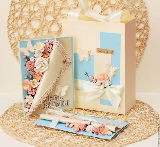 Свадебные открытки ручной работы. Ярмарка Мастеров - ручная работа. Купить Свадебный подарок Комплект 4 (открытка+конверт+пакет). Handmade. Голубой