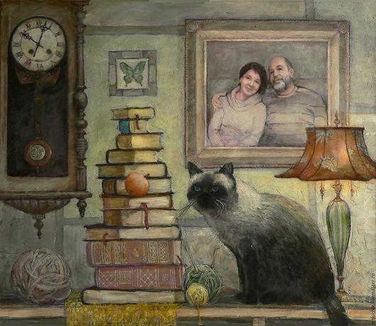 Картина. Натюрморт.натюрморт с портретом. Кот Геркулес ждёт хозяев домой.