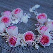Украшения handmade. Livemaster - original item Bracelet with pink roses from polymer clay. Handmade.