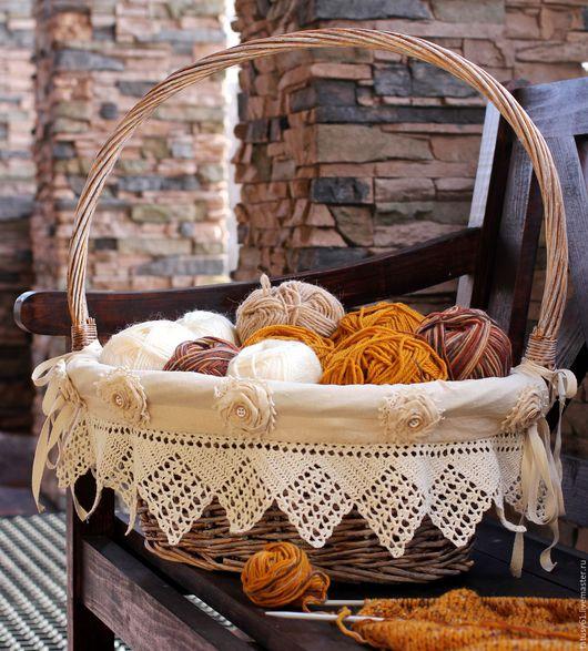 Корзины, коробы ручной работы. Ярмарка Мастеров - ручная работа. Купить Большая корзина плетеная для рукоделия  ( кантри, прованс). Handmade.
