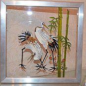 """Картины и панно ручной работы. Ярмарка Мастеров - ручная работа Картина на стекле """"Журавли"""". Handmade."""