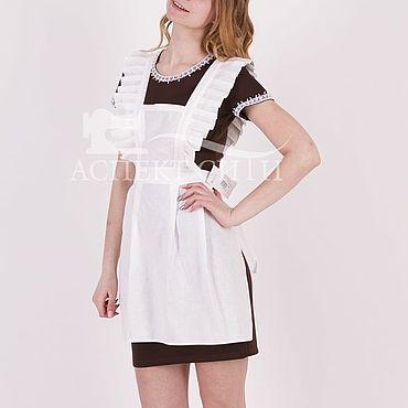 Товары для малышей ручной работы. Ярмарка Мастеров - ручная работа Комплект для последнего звонка, 14-436к коричневое платье, белый фарту. Handmade.