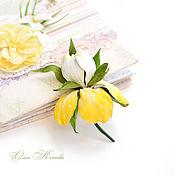 Украшения handmade. Livemaster - original item Iris flower brooch incredible tenderness yellow white. Handmade.