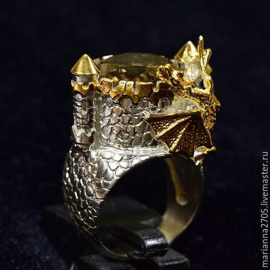 """Кольца ручной работы. Ярмарка Мастеров - ручная работа. Купить """"В гости к дракону"""" кольцо в стиле ФЭНТЕЗИ с раухтопазом и драконом. Handmade."""