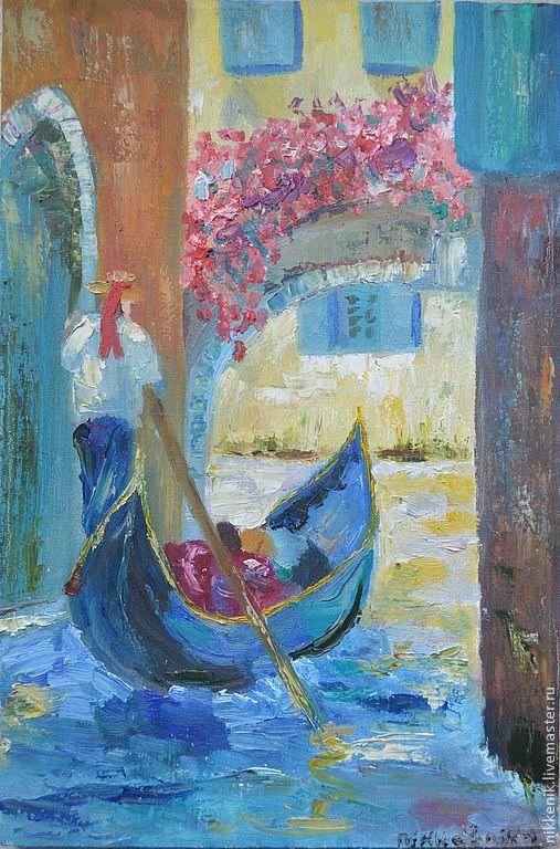 Город ручной работы. Ярмарка Мастеров - ручная работа. Купить Венеция. Handmade. Синий, дом, цветы, холст, масляные краски