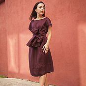 """Одежда ручной работы. Ярмарка Мастеров - ручная работа Платье """"Японское"""" с поясом ОБИ, бордо,100% лён. Handmade."""
