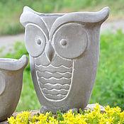 Цветы и флористика handmade. Livemaster - original item Flower pot is a large Owl of concrete creative for plants. Handmade.
