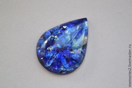 Для украшений ручной работы. Ярмарка Мастеров - ручная работа. Купить Винтажный кабошон 30х22 мм цвет Blue Fire Opal. Handmade.