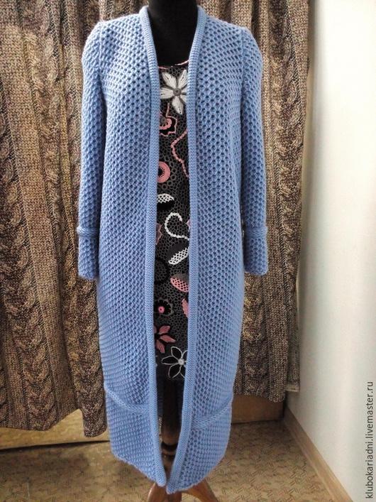 Пиджаки, жакеты ручной работы. Ярмарка Мастеров - ручная работа. Купить кардиган СОТЫ голубой. Handmade. Голубой, модное пальто