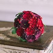 Свадебные букеты ручной работы. Ярмарка Мастеров - ручная работа Букет с красными английскими розами. Handmade.