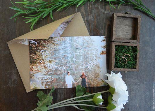 Свадебные аксессуары ручной работы. Ярмарка Мастеров - ручная работа. Купить Свадебные приглашения на Вашей фотографии, С орнаментом. Handmade.