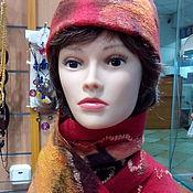 Аксессуары handmade. Livemaster - original item Felted set of hat and scarf, the colours of the sunset. Handmade.