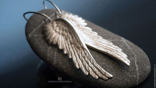 """Серьги ручной работы. Ярмарка Мастеров - ручная работа. Купить Серьги из серебра """"Крылья ангела"""". Handmade. Серебряный, крылья ангела"""