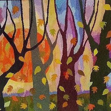 Картины и панно ручной работы. Ярмарка Мастеров - ручная работа Вышивка. Осенний вечер. Handmade.