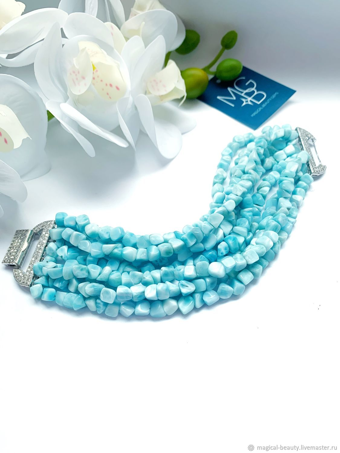 Bracelet with natural larimar ' Laguna», Necklace, Moscow,  Фото №1