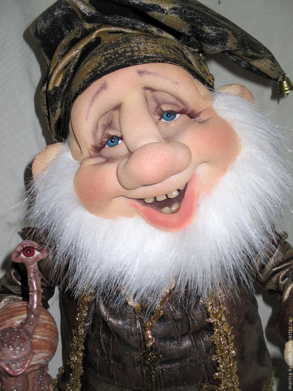 Купить гномик - комбинированный, гном, гномик, кукла ручной работы, кукла из капрона, кукла в подарок