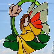 """Для дома и интерьера ручной работы. Ярмарка Мастеров - ручная работа """"Фея на зелёном листе"""" витраж. Handmade."""