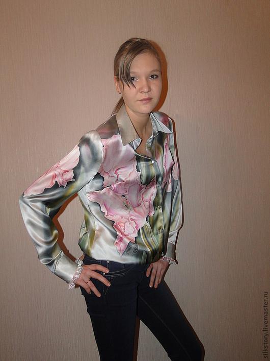 Блузки ручной работы. Ярмарка Мастеров - ручная работа. Купить Блуза Тюльпаны. Handmade. Цветочный, авторская работа, batik