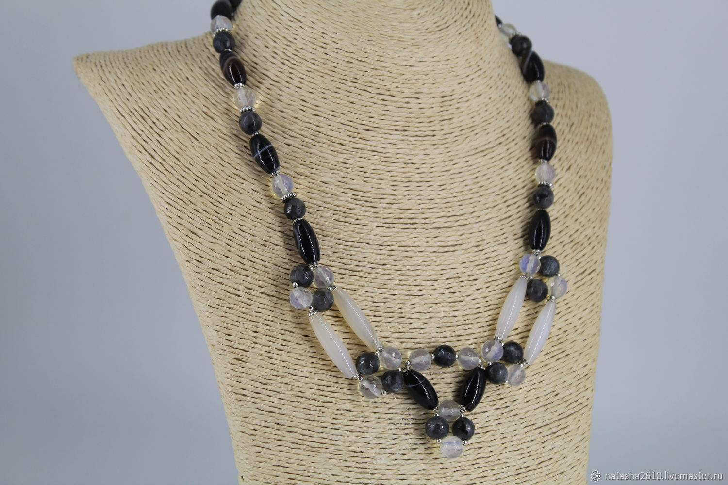 Necklace made of agate, opal and labradorite stones ' Oscar', Necklace, Velikiy Novgorod,  Фото №1