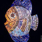 Картины и панно handmade. Livemaster - original item Ceramic panels Blue Fish. Handmade.
