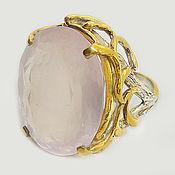 Украшения handmade. Livemaster - original item 925 silver ring with large rose quartz. Handmade.