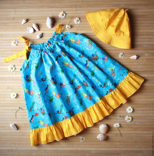 """Одежда для девочек, ручной работы. Ярмарка Мастеров - ручная работа. Купить Сарафан и панамка """"Ныряем?"""" для девочки, детское платье. Handmade."""
